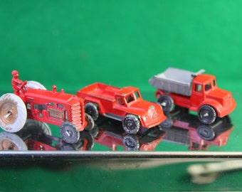 Scarce 1950 Japan Linemar Penny Miniature Lead Toy Tractor, Dump Truck and Pick Up Truck Set