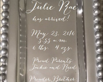 engraved baby tray, baby gift, personalized birth announcement, monogrammed tray, baby shower gift, birth announcement engraved
