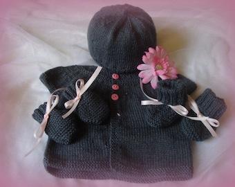 Gentle Gray Newborn Layette, Baby Hat, Baby Sweater, Baby Handmitts and Baby Booties, Handknit, Baby Shower Gift, Baby Girl Gift, Newborn