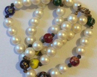 Vintage stimulated peals & Murano glass beads necklace