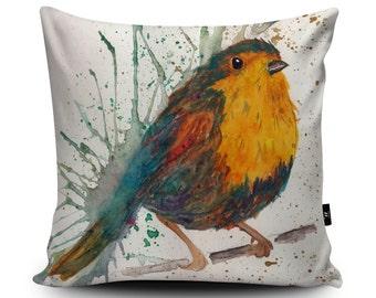 """Bird Cushion, Robin Cushion, Robin Pillow, Sparrow Cushion, Bird Pillow Case, Decorative Cushion, 45cm/60cm, 18""""/23.6"""" Vegan Suede Cushion"""