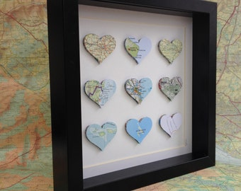 Map wall art - custom map art - paper anniversary - wedding gift - personalised map art - paper heart frame - paper heart art -  9 map heart