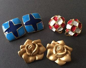 Vintage Clip On Earrings Lot 3 Pairs