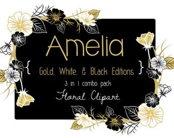 Gold, White, Black Floral Clipart Combo Pack