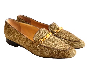 Borbonese Nubuck Leather Shoes - Ballerinas With Gold Chain Decor / US 9