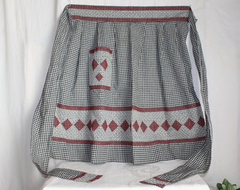 Home made black and white gingham cross stitch apron, diamond and stripe pattern, great condition