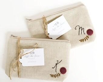 Set of 2 Monogram Cosmetic Bag, Personalized Bridesmaid Gift, Custom Makeup Bag, Initial, Best Friend Gift