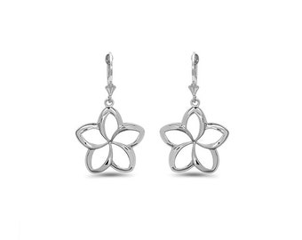 Sterling Silver lever back Plumeria earrings.