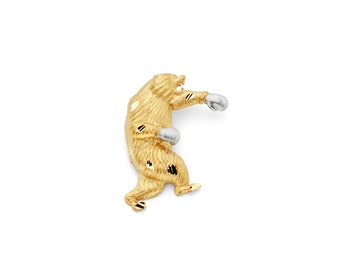 14K Two-Tone Gold Boxing Bear Slide Pendant, Bear Pendant, Bear Jewelry, Boxing Pendant, Bear Jewelry, Gold Bear, Boxing Jewelry, Bear