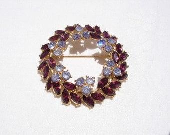 Vintage Crown Trifari Amethyst/Purple and Lavender Rhinestone Wreath Brooch