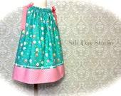 Girls Pillowcase Dress, Toddler Pillowcase Dress, Sun Dress, Aqua and Pink, Sizes 2T - 6 by 8th Day Studio