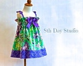 Girls Easter Dress, Toddler Easter Dress, Sun Dress, Purple and Green Floral, Cotton, Sizes 2T - 6 by 8th Day Studio