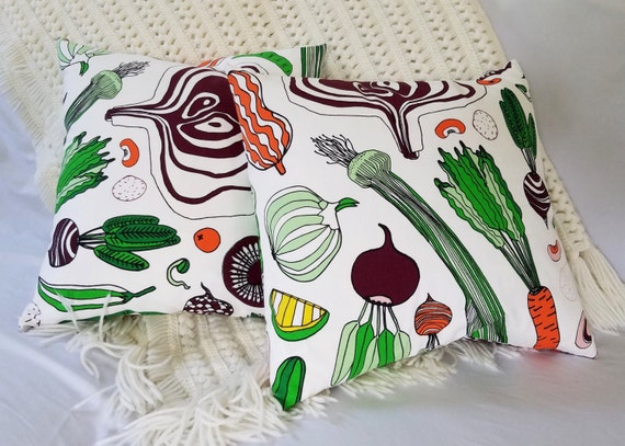 16x16 Ikea Farmers Market Fabric HEMTREVNAD Pillow Cover with Insert, Throw, Couch, Bed, Fun, Colorful, Veggie, Vegetable, Unique, Kitchen