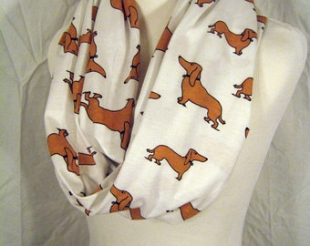 Doxie Dachshund dog Infinity Scarf - Brown Wiener Weiner Dogs on White Jersey Knit LONG Circle figure 8 infinity loop Scarf