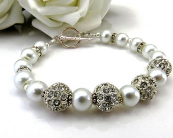 Pearl and Rhinestone Wedding Bracelet, Handmade Wedding Jewellery, Bridesmaid Bracelet,Swarovski Rhinestone and Pearl Bridal Jewelry