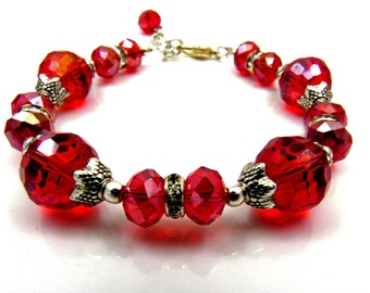 Red Glass Crystal Bracelet, Red Bridesmaids bracelet, Red Bead Bracelet, Wedding Jewelry, Bridesmaid Jewelry, Crystal Bracelet