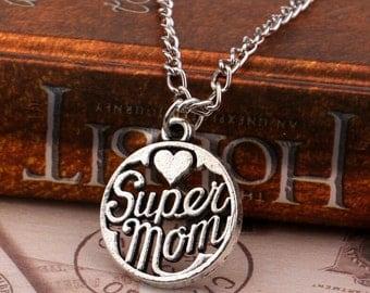 Silver Super Mom Necklace