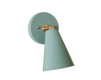 Single Cone Wall Sconce Mid Century Atomic Mint Green Modern