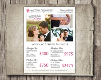 Wedding Photography Package Pricing - Photographer Price List - Wedding - Photoshop Template Wedding Package Prices - INSTANT DOWNLOAD
