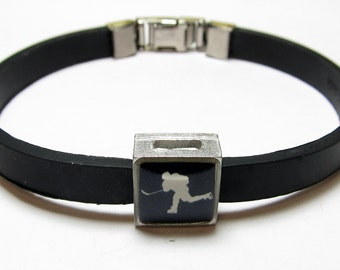 Hockey Slapshot Silhouette Link With Choice Of Colored Band Charm Bracelet