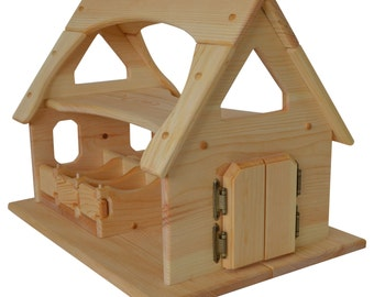 Natural Wooden Toy Stable-Waldorf Wooden Stable- Toy Barn-Wooden Barn-Child's Play Barn-Montessori Pretend Play Stable-Wooden Animals