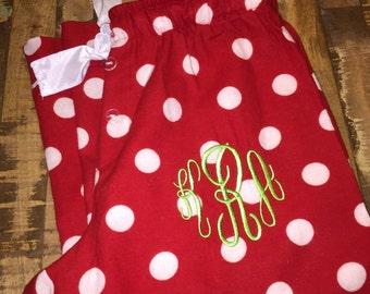 Christmas Monogram Pajama Pants,