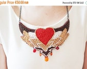 ON SALE Women gift necklace for Valentine day - red heart necklace - gold and red seed beads pendant - love jewelry for her, Valentine fashi
