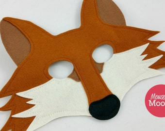 Wool felt Fox mask for pretend play and dress up, make believe and costumes.  100% wool felt animal mask.