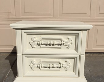 Vintage Solid Wood Shabby Chic Nightstand hand painted