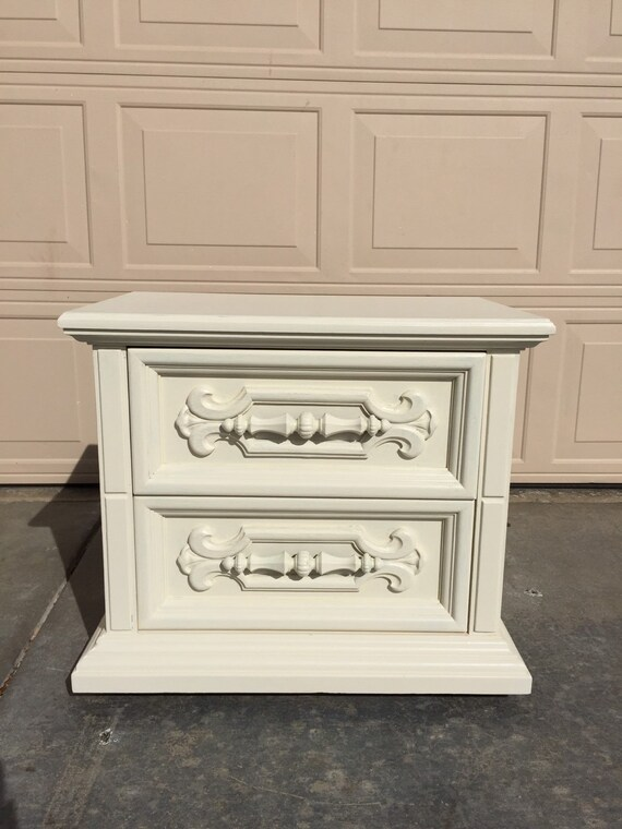 vintage solid wood shabby chic nightstand hand by. Black Bedroom Furniture Sets. Home Design Ideas