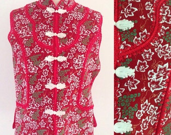 Asian Suede Top / Vintage  Asian Vest / Botanical Ivy Top / Red Leather BlossomTop / Chinese Botanical Top / Chinese Style Knot Vest