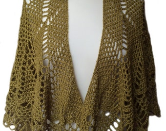 Silky Bamboo Crochet Wrap in Rich Olive Green