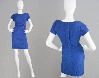 Vintage JACQUES HEIM 60s Wiggle Dress Blue Wool Boucle Dress I Magnin Mini Dress Fitted Sheath Dress Smart Office Dress Nubby Fabric 1960s