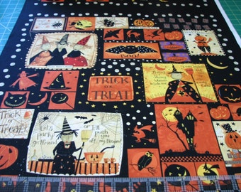 Halloween Witchful Thinking Craft Panel Witches Pumpkins Bats Spiders Cotton Fabric #743
