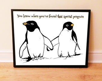 Printable File: Romantic Penguin Art Print, Instant Download Art, Special Couples Art, Romantic Art, Printable Words, Wall Decor, I Love You