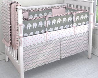 24HRSALE***Grey and Pink Elephant/Chevron/Dot Crib bedding