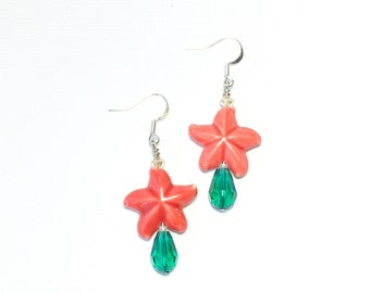 Red Starfish and Teal Crystal Earrings