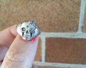 Skull Ring ON SALE 60% OFF!!  Sterling Silver Skull Ring, Unisex Skull Ring, Mens Skull Ring, Skull Jewellery, Chunky Ring, Flower Ring