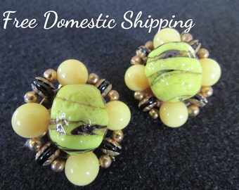 Bumble Bee Bead Earrings, Yellow Black Earrings, Mid Century Cluster Earrings, Venetian Bead Earrings, Clip On Earrings, Free US Shipping