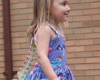 Handmade Peekaboo Dress My Little Pony Inspired sizes newborn - girls 8