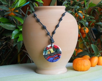 Necklace with ceramic pendant. Gift. Ceramics to be worn