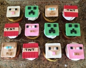Minecraft Fondant Cupcake Toppers & Creeper Cake Topper