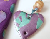 Heart-shaped Teal and Purple Polymer Clay  Pendant and Bonus Bead   PC16-003E