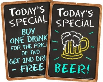 Today's Special Metal Bar Sign