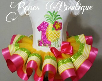 Pineapple Birthday Ribbon Tutu Set | Birthday Party Outfit