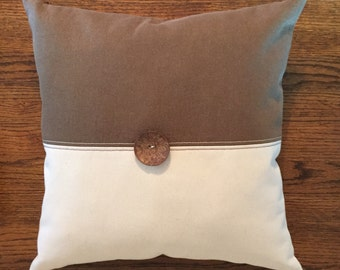 Brown pillow - brown and white pillow - neutral pillow - rustic pillow - modern pillows - Ivory pillow - brown denim pillow - 18 x 18