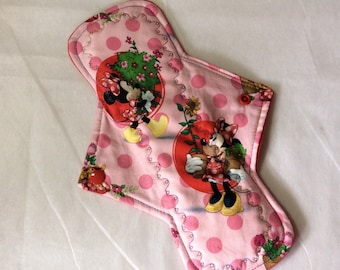 "10.25""  Minnie Mouse in red  cotton Top reusable cloth pad  ( with fancy  stitching)"