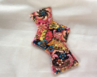 "10"" Pasley print    on  Minky    Top reusable cloth pad ( regular )"