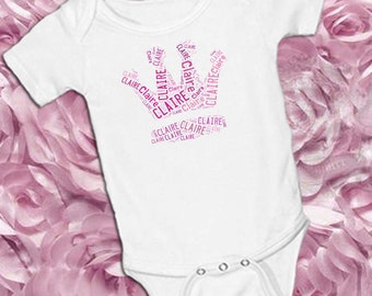 Girls Crown Name Collage Bodysuit in Pink on white bodysuit with three snaps at bottom