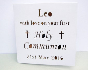 Personalised First Communion Card -  Paper Cut Card - Handmade Greeting Card  - Silver